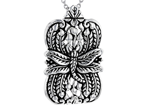 Dragonfly Design Rhodium Over Sterling Silver Pendant With Chain