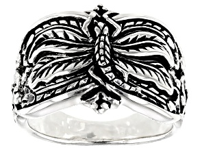 Dragonfly Design Rhodium Over Sterling Silver Ring
