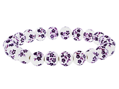 Ceramic Painted Bead Stretch Bracelet