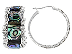 Multicolor Abalone Shell Rhodium Over Sterling Silver Hoop Earrings