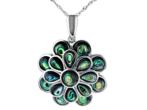 Abalone Shell Rhodium Over Sterling Silver Flower Enhancer W/Chain