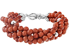 Red Sponge Coral Torsade Rhodium Over Sterling Silver Bracelet