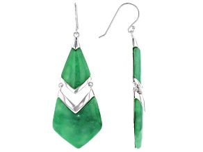 Jadeite Rhodium Over Sterling Silver Dangle Earrings