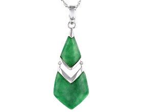 Jadeite Rhodium Over Sterling Silver Dangle Enhancer W/Chain