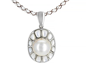 Mother of Pearl Rhodium over Silver Enhancer and Leather Cord