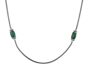 Green Jadeite Sterling Silver Station Necklace