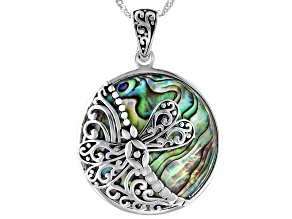 Pacific Style™ 30mm Abalone Shell with Dragonfly Rhodium Over Sterling Silver Enhancer with Chain
