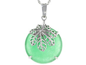 Pacific Style™ Jadeite Rhodium Over Sterling Silver Enhancer with Chain