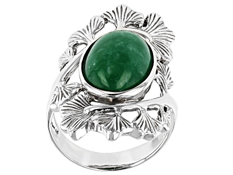 Jadeite Rhodium Over Silver Leaf Ring