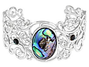 Abalone Shell Rhodium Over Sterling Silver Cuff Bracelet