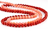Red and Pink Sponge Coral Silver Double Strand Necklace
