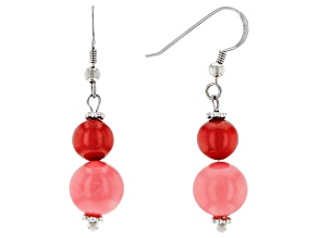 Coral Rhodium Over Silver Dangle Earrings