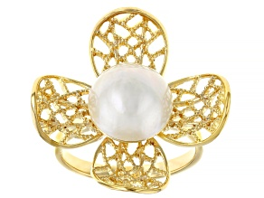 Pacific Style™ White Cultured  Mabe Pearl 18K Gold Over Silver Ring
