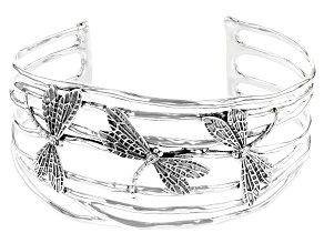 Pacific Style™ Dragonfly Rhodium Over Sterling Silver Cuff Bracelet