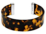 Imitation Tortoise Shell Rhodium Over  Silver Cuff Bracelet