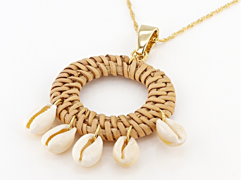 Pacific Style™ Woven Rattan With Shell 18K Gold over Silver Enhancer With Chain