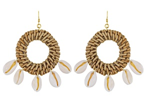 Rattan With 5 White Shells 18K Gold Over Silver Dangle Earrings