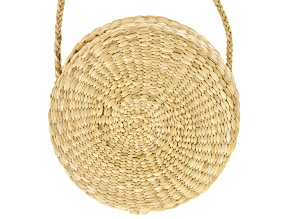 "Pacific Style™ Round Rattan Clutch Purse, 7.5"" Round"