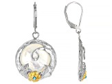 Pacific Style™ White Mother of Pearl Floral Dangle Earrings