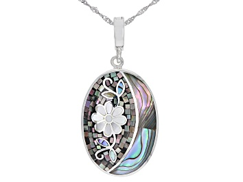 Picture of Gray and White Mother-of-Pearl with Abalone Shell Sterling Silver Mosaic Enhancer with Chain