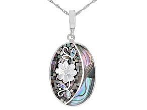 Gray and White Mother-of-Pearl with Abalone Shell Sterling Silver Mosaic Enhancer with Chain
