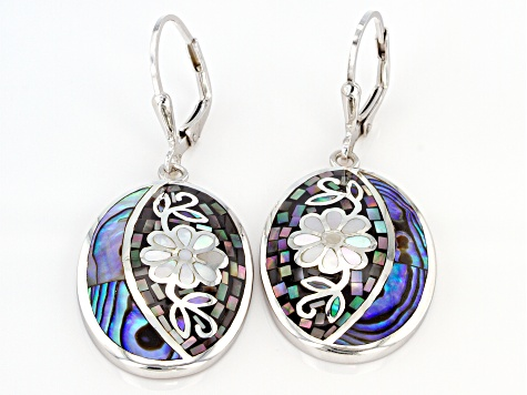 Gray and White Mother-of-Pearl with Abalone Shell Rhodium Over Silver Mosaic Dangle Earrings