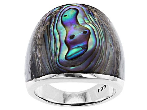 Abalone Shell Solitaire Rhodium Over Silver Dome Ring
