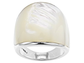 Mother-Of-Pearl  Rhodium Over Silver Ring