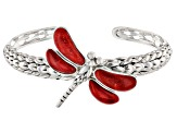 Red Coral Rhodium Over Silver Dragonfly Bracelet