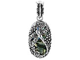 Abalone Shell Rhodium Over Silver Dragonfly Enhancer