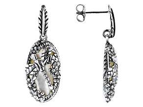 Mother-of-pearl Rhodium Over Silver Dragonfly Earrings