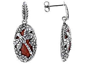 Coral Rhodium Over Silver Dragonfly earrings