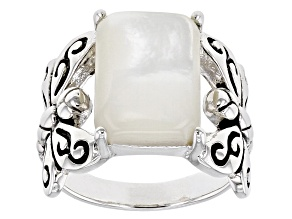 White Mother-of-Pearl Rhodium Over Silver Dragonfly Ring