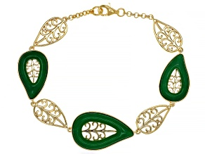 Jadeite Open Filigree Design 18k Gold Over Sterling Silver Leaf Bracelet