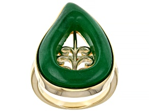 Jadeite Open Filigree Design 18k Gold Over Sterling Silver Leaf Ring