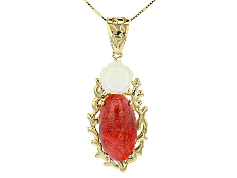Red Coral 18k Gold Over Sterling Silver Pendant W/ Chain