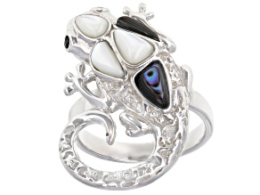 Abalone Shell Rhodium Over Silver Lizard Ring 0.03ctw