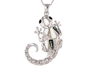Abalone Shell Rhodium Over Silver Lizard Pendant With Chain