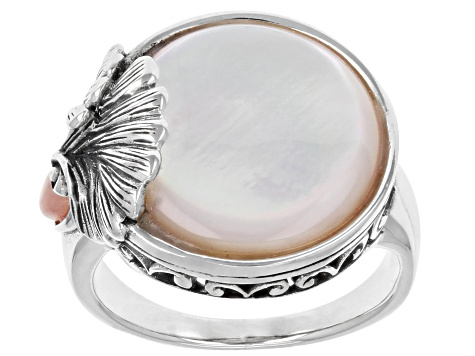 Mother-of-Pearl With Opal Rhodium Over Silver Ring