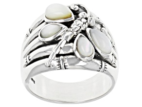 Mother-Of-Pearl Dragonfly Rhodium Over Sterling Silver Ring