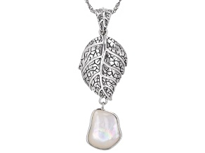 "Free Form Mother-Of-Pearl Sterling Silver Leaf Design Enhancer With 18"" Chain"