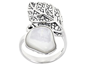 Free Form Mother-Of-Pearl Sterling Silver Bypass Ring