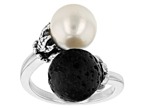 Lava Stone And Cultured Freshwater Pearl Sterling Silver Bypass Ring