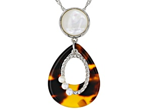 Imitation Tortoise Shell, Mother-of-Pearl, & Cultured Freshwater Pearl Silver Slide Pendant