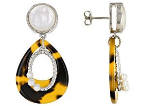 Imitation Tortoise Shell, Mother-of-Pearl, & Cultured Freshwater Pearl Silver Earrings