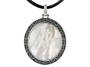 """Mother-of-Pearl Sterling Silver Scroll Work Enhancer W/ 20"""" Leather Cord"""