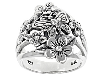 Picture of Sterling Silver Flower & Butterfly Ring