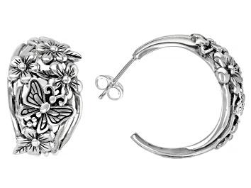Picture of Sterling Silver Flower & Butterfly Hoop Earrings