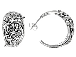 Sterling Silver Flower & Butterfly Hoop Earrings