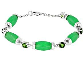 Green Jadeite Rhodium Over Sterling Silver Bracelet 2.13ctw